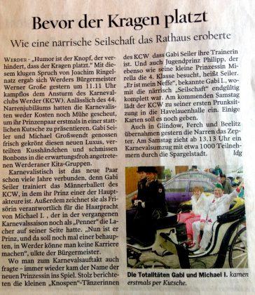 Auch die PNN berichteten 2004 über das Prinzenpaar der 44. Saison. Hier wurde auch der Satz von Werner Große dokumentiert.